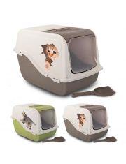 Туалет для кошек  ARIEL закрытый с рисунком, с угольным фильтром
