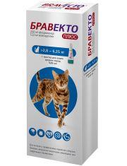 Бравекто Плюс капли для кошек от 2,8 до 6,25  кг против внутренних и внешних паразитов (250 мг)