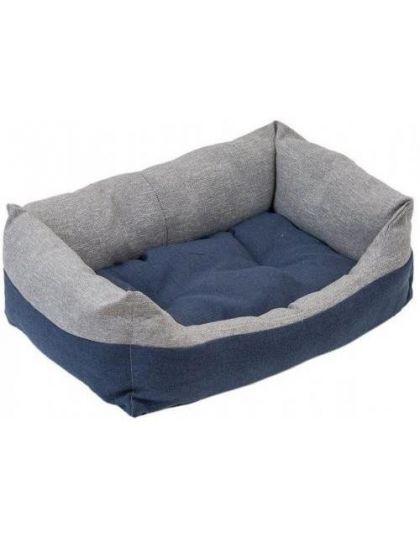 Лежак прямоугольный пухлый с подушкой Navy серый