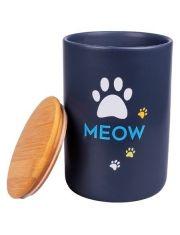 Бокс керамический для хранения корма для кошек MEOW черный