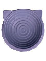 Миска керамическая для кошек круглая с ушками серый