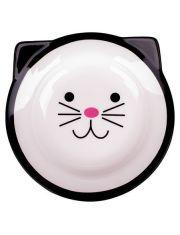 Миска керамическая для кошек Мордочка кошки черная