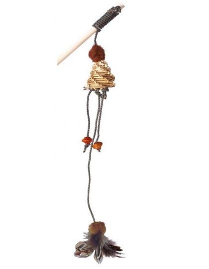 Игрушка-дразнилка для кошек на деревянной палке с погремушкой
