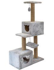 Комплекс-когтеточка Джут 95 серый квадратный 3-х уровневый с 2мя домиками и гамаком