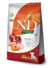 N&D PUMPKIN Puppy Mini Chicken & Pomegranate беззерновой для щенков и беременных или кормящих собак мелких пород курица, гранат и тыква