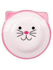 Миска керамическая для кошек Мордочка кошки розовая