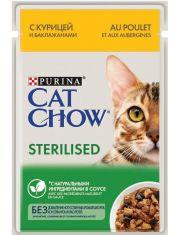 Для стерилизованных кошек и кастрированных котов с курицей и баклажанами в соусе