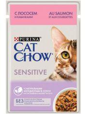 Для взрослых кошек с чувствительным пищеварением, с лососем и кабачками в соусе