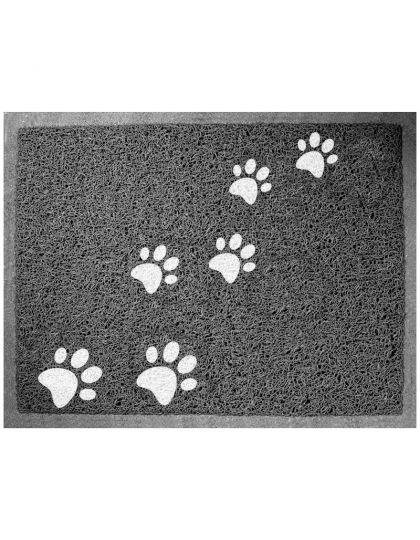 Коврик для кошачьего туалета прямоугольный Лапки, серый