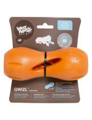 Игрушка для собак гантеля под лакомства Qwizl L оранжевая