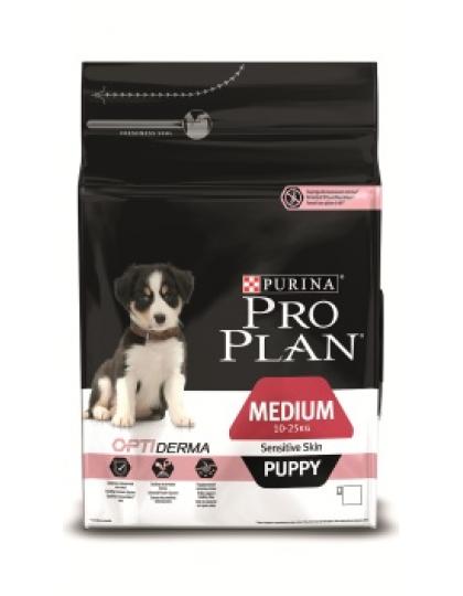 Medium Puppy Sensitive Skin с комплексом Optiderma сухой полнорационный корм для щенков средних пород с чувствительной кожей, лосось с рисом
