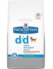 Prescription Diet Canine d/d разработан для поддержания здоровья собак при кожных реакциях и рвоте/диарее в случае аллергии, лосось/рис