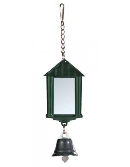 Кубик пластиковый с зеркалом и колокольчиком для птиц