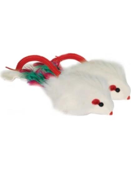 Мышь погремушка на пружине для кошек
