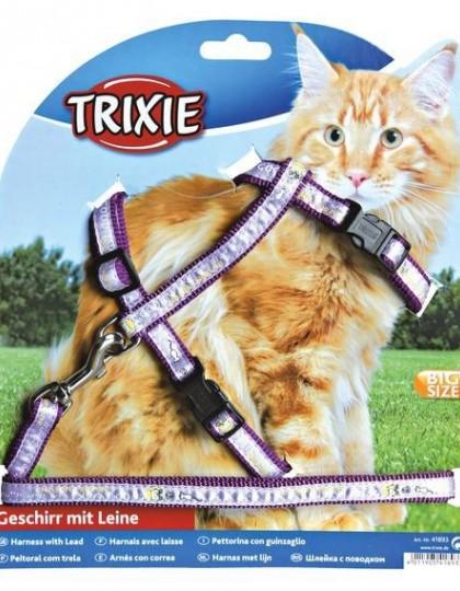 Шлейка с поводком для кошек крупных пород