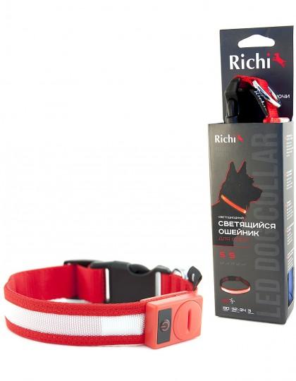 Светящийся ошейник «Richi» 3 режима работы на батарейках,красный