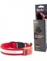 Светящийся ошейник «Richi» 3 режима работы на батарейках,красный, лента