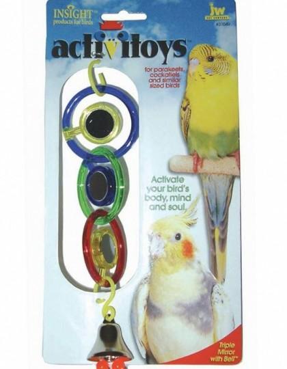 Triple Mirror With Bell игрушка для птиц 3 зеркальца с колокольчиком пластик