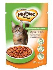 Полноценное и сбалансированное питание для взрослых кошек с чувствительным пищеварением, кролик в соусе