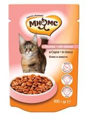 Полноценное и сбалансированное питание для взрослых кошек, склонных к аллергии, лосось в соусе