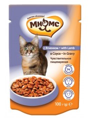 Полноценный корм для взрослых кошек  с чувствительным пищеварением, ягненок в соусе