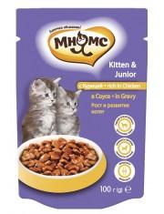 Полноценный корм для котят, курица в соусе