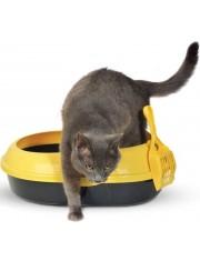 Туалет для кошек овальный с бортом (совок и сетка в комплекте)