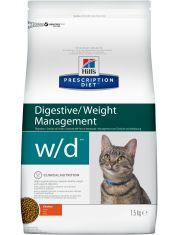 Hill's Prescription Diet w/d Digestive/Weight Management сухой диетический корм для кошек для поддержания оптимального веса и здоровья при сахарном диабете курица