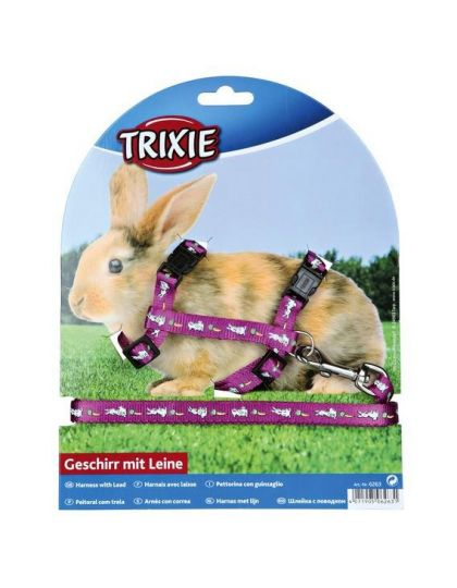 Шлейка с поводком для кроликов с рисунком