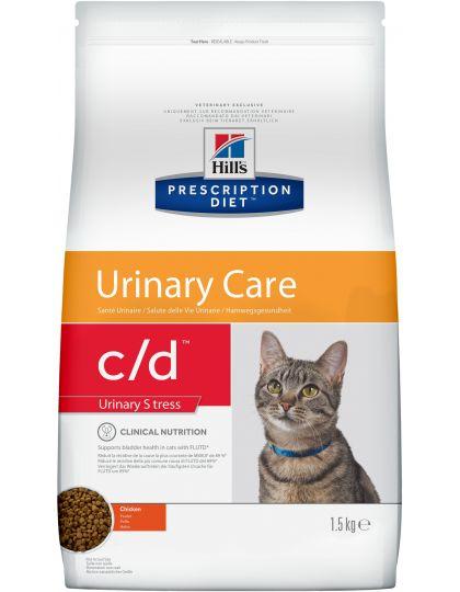 Hill's Prescription Diet c/d Urinary Stress сухой диетический корм для кошек для поддержания здоровья мочевыводящих путей и при стрессе одновременно с курицей