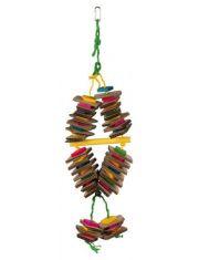 Деревянная игрушка на веревке разноцветная