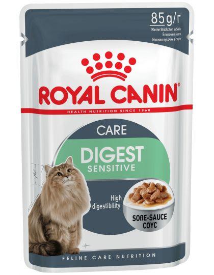 Digest Sensitive кусочки в соусе для улучшения пищеварения у взрослых домашних кошек старше 1 года