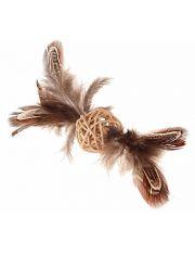 Плетённый мячик с колокольчиком и перьями