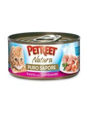 кусочки тунца с креветками в рыбном супе для кошек