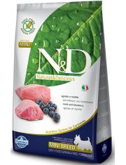 Natural & Delicious Grain Free Adult Mini полнорационный беззерновой корм для взрослых собак мелких и карликовых пород ягненок с черникой