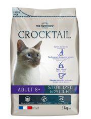 Crocktail Adult 8+ Sterilized &/OR Light  полнорационный корм для стерилизованных кошек старше 8 лет.  Подходит кошкам со склонностью к набору избыточного веса