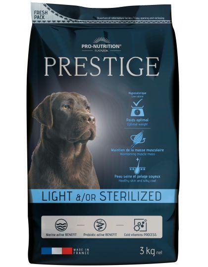 Prestige Adult Light &/or Sterilized полнорационный корм супер-премиум класса для стерилизованных собак и /или для собак с лишним весом